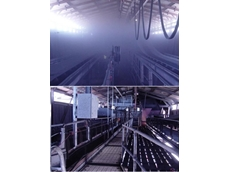 Identical coal transfers using the same coal, on the same day with the same ambient air conditions: Top image in original condition and bottom retrofitted with a passive dust control system