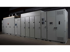 A variable speed drive panel for a large VSD electric motor.