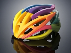Bike helmet 3D printed on the Objet500 Connex3 Colour Multi-material 3D Printer in one print job using VeroCyan, VeroMagenta, and VeroYellow (Photo: Stratasys Ltd.)
