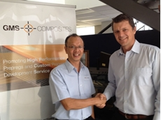Lawrence Kok (left) with GMS Composites MD Sam Weller (right)