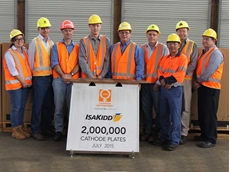 IsaKidd team celebrating the two millionth cathode plate