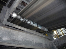 One of Horizon's aluminium return rollers in action at Kingsnorth Power Station