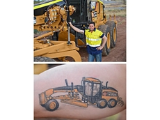 Miner loves grader so much he get grader tattoo