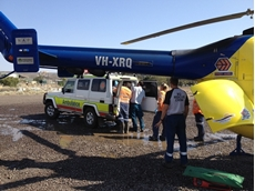 Injured on site the miner was airlifted suffering spinal injuries. Image: RACQ NQ Rescue Helicopter.