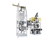 NBE bulk bag unloader and container filling system