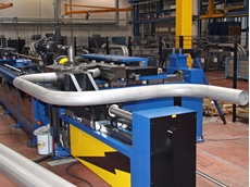 The powerful high torque machine can bend thick-walled pipes and tubes up to 180mm in diameter