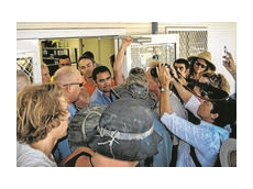 Protesters clash with Whitehaven Coal workers at Boggabri office
