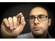 RMIT researcher Dr Amgad Rezk with the lithium niobate chip.