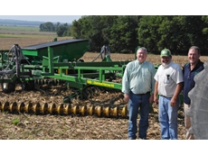 The new Diamond Harrow model and Cover Crop Feeder with (left to right) US Sales and Marketing Manager Wayne Rosenbaum, Kelly dealer and farmer George Quinn and Kelly Engineering Managing Director Shane Kelly.