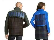 The jacket has removable solar panels that can generate enough power to recharge mobile phones and tablets.