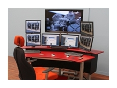 Electric height adjustable control room console desk