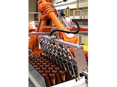 The industrial robot designed by APEX is designed to operate in tandem with blow moulding machines at a production rate of 3,000 bottles per hour