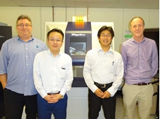 Richard Trett (AXT), Akira Kitamura, Shintaro Kobayashi (Rigaku) and Kevin Jack (The University of Queensland) pictured with the Rigaku SmartLab