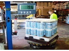 Load cells and digital weight indicator for pallet wrappers