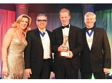 The victorious Combilift team at the FLTA Awards with the Victor Ludorum gold statuette