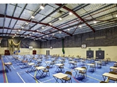 The sports hall at Abbey Gate College after the installation of Marl LED lights
