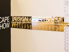 Allplastics' gold acrylic mirror sheet used in an exhibition