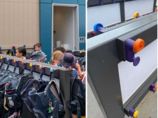 PEP CORE bag hanger screens at Our Lady of Rosary Primary School