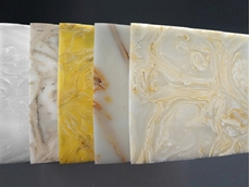 Acrylic Onyx in a selection of 7 textures (Firehorse, Golden Lantern, Venus, Saturn, Storm, Sunburst, and Tidal Wave