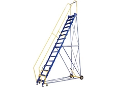 Steel rolling warehouse ladder with lockable safety gate