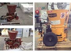 The refurbished Reed gunite machine