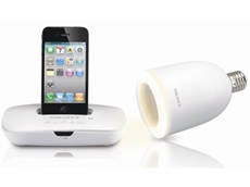 The wireless light and surround sound system is complete with iPhone/iPod docking station