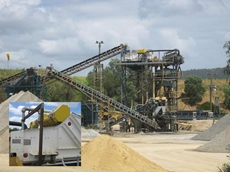 CCS Clutha Creek Quarry with Aury AHS2448 horizontal screen on top of plant tower and foreground (inset)