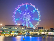 The gloss white protective coating forms an ideal surface to project the Star's colourful, nightly light show