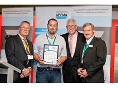 Jude Van Der Zalm receiving his APPMA scholarship, which enables him to undertake an AIP packaging course