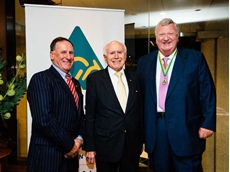L-R: Australian Made Campaign Chairman Glenn Cooper AM, former Prime Minister the Honourable John Howard OM AC and first patron of the Australian Made Campaign Robert Gerard AO.