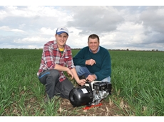 "Ron and Chris Andrighetto from Griffith with the 3"" Aussie poly pump, a low cost, reliable solution for pumping liquid fertiliser"