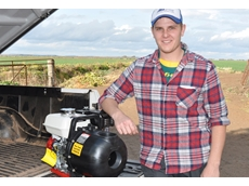 Chris Andrighetto from Griffith with his Aussie poly pump used as a dependable means for pumping corrosive ag. chemicals