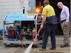 Aussie's new Extreme series hydro-blaster in final inspection stage before shipping
