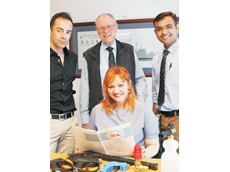 (L-R) Alberto Benetti, John Hales and Mal Patel (API Product Manager) and seated, Stefania Benetti.