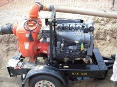 6 inch trash pump is one of a fleet of pumps used on a Malaysian land reclamation project.