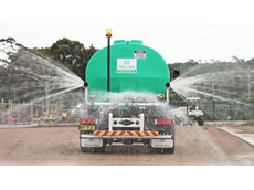 The new Watercart Specialists trucks in action, drenching a track up to 50 metres wide