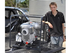 "Aussie Pumps' Albert Mahoney with the new 3"" Aussie QP high performance transfer pump"