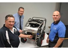 Integrity Pumps' Peter Smith, Aussie Pumps' Dean Fountain and Integrity Pumps' Chris Smith showcasing the Aussie Scud