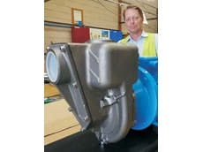 Aussie Pump's Operations Manager, Hamish Lorenz checks out the new 316 stainless steel Aussie G3TMK-A tailings pump