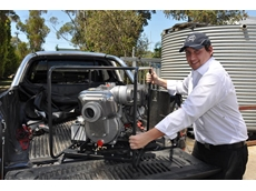 "Aussie Pumps' Adrian Fiatarone with the new 3"" Aussie QP Honda-powered high performance transfer pump"