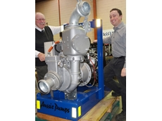 Aussie Pump's Chief Engineer, John Hales (left) and Project Engineer Jeremy Skelton show off the new Auto-Prime pump designed to deliver a breakthrough in efficiency and cost