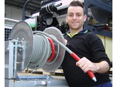 Frederico Milani tries out the new Aussie stainless steel hose reel designed to handle high pressure and steam capability