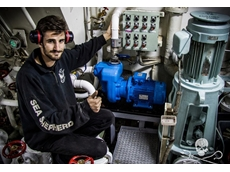 Sea Shepherd's Pablo Watson, Chief Engineer with the new GMP pump installed on SSS Sam Simon