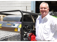 WOMA Australia's Managing Director Ian Blevin inspects the Aussie Hydrotek high pressure steam cleaner