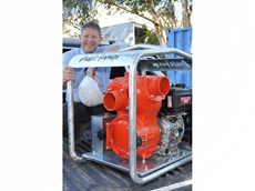 Aussie Pumps MD Warwick Lorenz with the new Mine Boss pump powered by a Yanmar L Series diesel engine