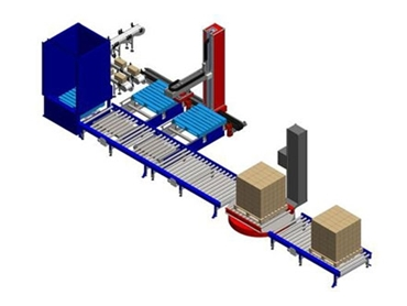 An integrated palletising systems comprising, an MLP-12 with optional multiple pallet positions, slat infeed conveyor, pallet de-stacker, pallet conveyors and stretch wrapper