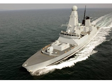 The Royal Navy's HMS Daring on sea trials