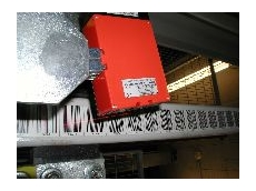 Barcode positioning system with red light laser scanning.
