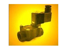 Glass filled polypropylene pilot operated solenoid valve.