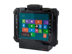 Rugged Tablet PC in Vehicle Dock with Optional Snap On Module